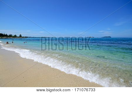 Tranquil Scenery At Kota Kinabalu Beach, Sabah Borneo, Malaysia.