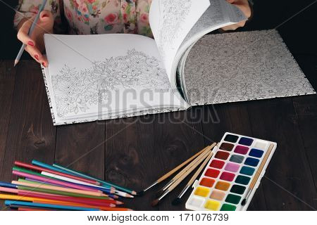 Woman Relaxing While Do Painting Adult Coloring Book