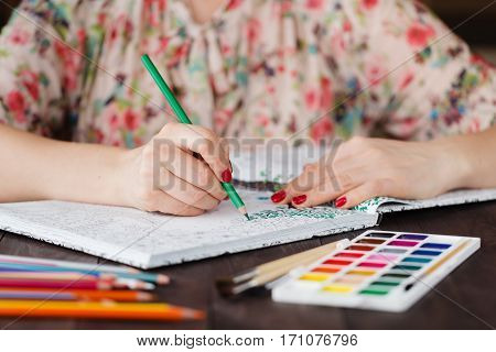 Adult Woman Relax By Paining Coloring Book