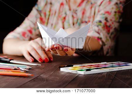 Woman Educate Origami