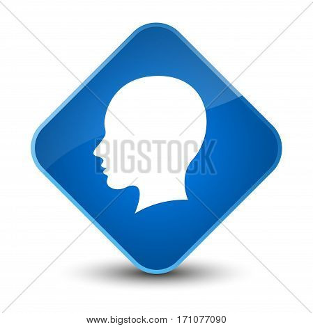 Head Female Face Icon Special Blue Diamond Button
