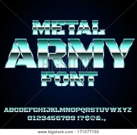Retro Future Military Army Old Blue Sci-Fi Movies Style Chrome Typeface in 80s Retro Futurism style. Vector font