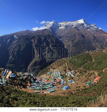 Namche Bazar and mountain. Village in the Everest National Park Nepal.