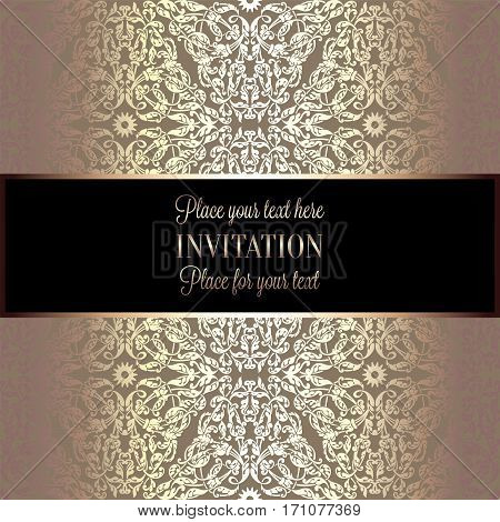 Baroque Background With Antique, Luxury Beige And Metal Gold Vintage Frame, Victorian Banner, Damask