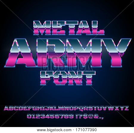 Future Military Army Sci-Fi Movies Style Chrome Typeface in 80s Retro Futurism style. Vector font