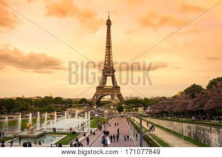 PARIS FRANCE - MAY 07 2015: View at famous Tour Eiffel in Paris France