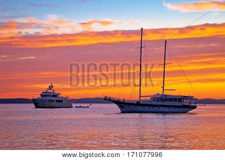 Sailboat And Yacht At Sunset View