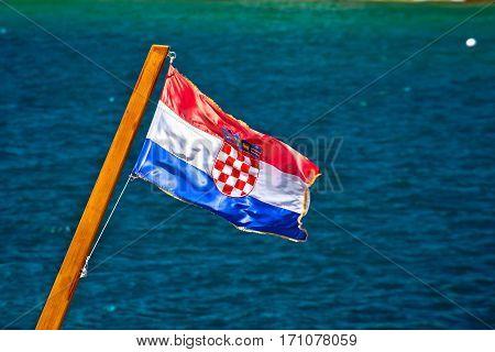 Flag Of Republic Croatia On Sea Background