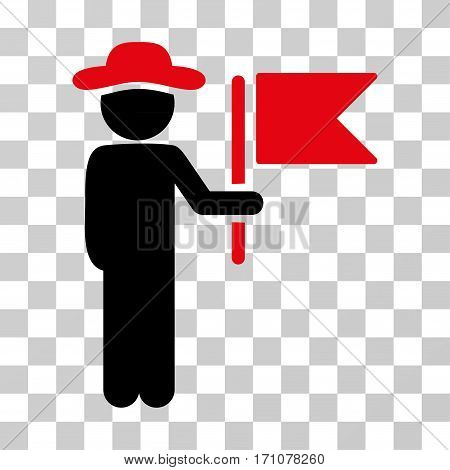 Gentleman Commander icon. Vector illustration style is flat iconic bicolor symbol intensive red and black colors transparent background. Designed for web and software interfaces.