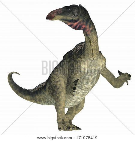 Lurdusaurus Dinosaur on White 3d illustration - Lurdusaurus was a herbivorous ornithopod iguanodont dinosaur that lived in Niger in the Cretaceous Period.
