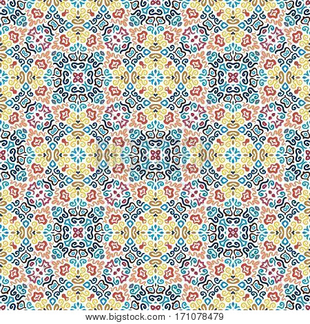 Blue Yellow background. Flower Seamless Pattern. Colorful weave stylized floral ornament vector. Intricate luxury decoration. Flourish furniture fabric print, wallpaper. Interior design element.