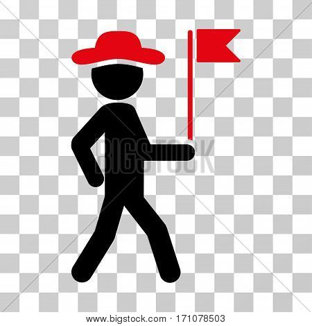 Gentleman Flag Guide icon. Vector illustration style is flat iconic bicolor symbol intensive red and black colors transparent background. Designed for web and software interfaces.