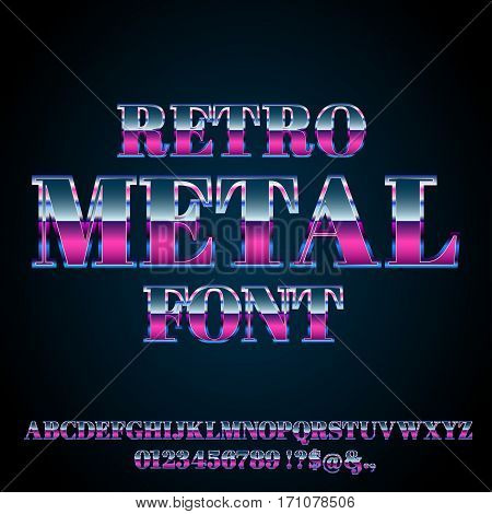 80's and 90's retro style vector font with chrome effect on letters