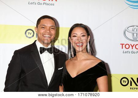 LOS ANGELES - FEB 11:  Trevor Noah, Jordyn Taylor at the 48th NAACP Image Awards Arrivals at Pasadena Conference Center on February 11, 2017 in Pasadena, CA
