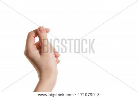 Female hand holding a virtual card with your fingers on a white background