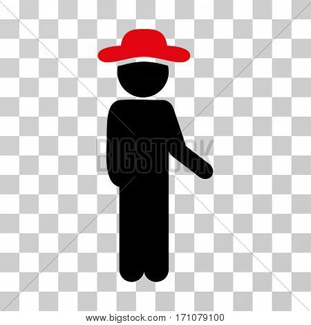 Gentleman Idler icon. Vector illustration style is flat iconic bicolor symbol intensive red and black colors transparent background. Designed for web and software interfaces.