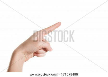 Hand girl shows the forefinger up isolation on a white background