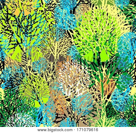 Vector floral multicolored background with abstract trees.