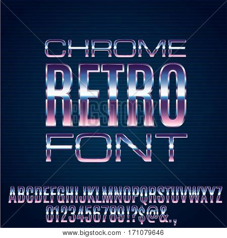 Retro Future Chrome Space Sci-Fi Movies Style Chrome Typeface in 80s Retro Futurism style. Vector font