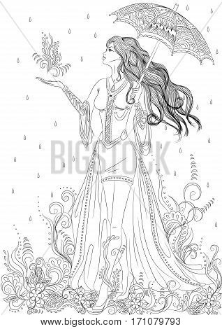 Line art. Vector illustration of a beautiful girl in the form of flora with long hair walking under an umbrella. Isolated on white background. Coloring book page for adult