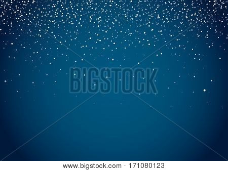 Starfield glowing stars on blue sky vector background.