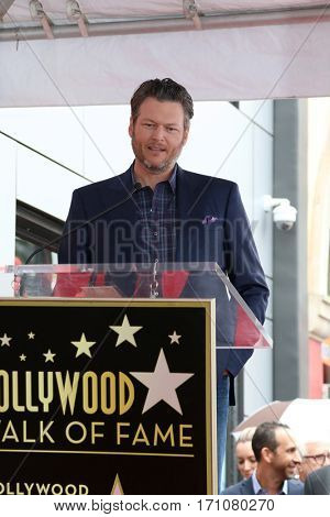 LOS ANGELES - FEB 10:  Blake Shelton at the Adam Levine Hollywood Walk of Fame Star Ceremony at Musicians Institute on February 10, 2017 in Los Angeles, CA
