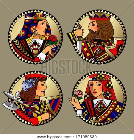 Round shapes with faces of playing cards characters. Original vintage design in gold, red, blue and black colors. Contains the Clipping Path