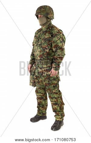 Soldier in uniform isolated on white background