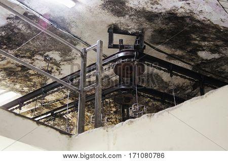 Swivel conveyor mechanism. Former Russian winery Abrau Durso.