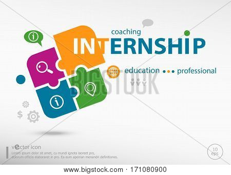 Internship Business Concept Word Cloud On Colorful Jigsaw Puzzle.