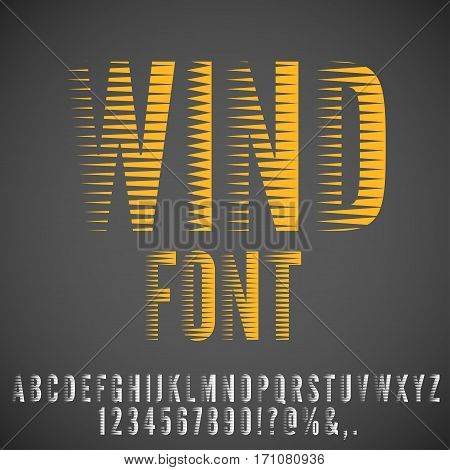 Wind flow, speed stylized, stripe looks font for tittles and logotype. Vector set