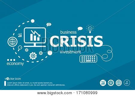 Crisis Related Words And Marketing Concept. Infographic Business.