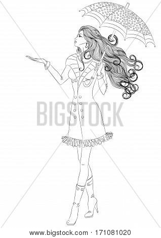 Line art. Vector illustration of a beautiful girl with long hair walking under an umbrella. Isolated on white background. Coloring book page