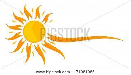 The Logo of bright summer stylized sun.