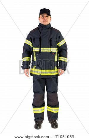 Fireman in uniform isolated in white background