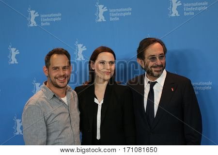 Moritz Bleibtreu, Antje Traue attend the 'Bye Bye Germany' (Es war einmal in Deutschland) photo call during the 67th Berlinale  Festival Berlin at Hyatt Hotel on February 10, 2017 in Berlin, Germany