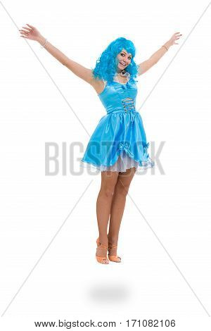 Carnival dancer woman jumping, isolated on white background in full length.