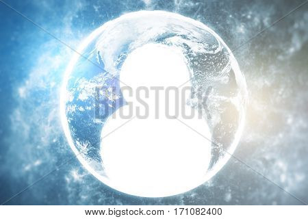 Close up of abstract globe with human icon. HR concept.