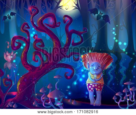 Dark magic enchanted forest template with trees mushrooms pond bats and cute troll holding flower vector illustration