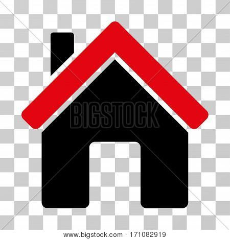 House icon. Vector illustration style is flat iconic bicolor symbol intensive red and black colors transparent background. Designed for web and software interfaces.