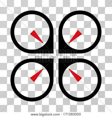 Hover Drone icon. Vector illustration style is flat iconic bicolor symbol intensive red and black colors transparent background. Designed for web and software interfaces.