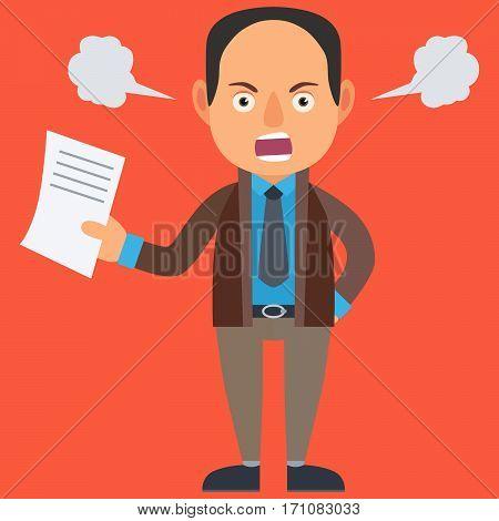 Angry Businessman. Vector Illustration. Cartoon. Character. Flat Design