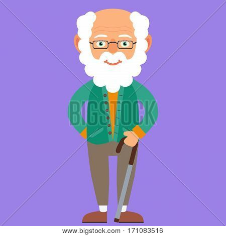 Kind Grandfather. Vector Illustration. Cartoon. Character. Flat Design