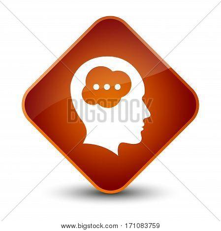 Brain Head Icon Special Brown Diamond Button