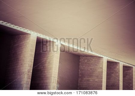 Photo of a abstract brick wall structure from a modern building.