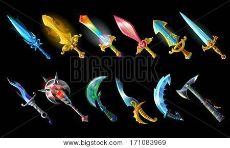Cartoon weapon icons set with colorful sword knife mace sabre axe for game design isolated vector illustration
