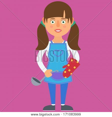 Woman Housewife With Ladle. Vector Illustration. Cartoon. Character