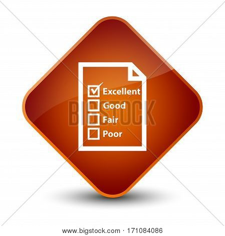 Questionnaire Icon Special Brown Diamond Button