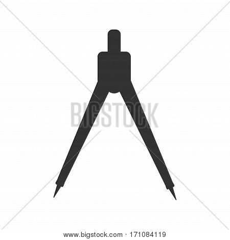 silhouette of compasses geometric tool black isolated object
