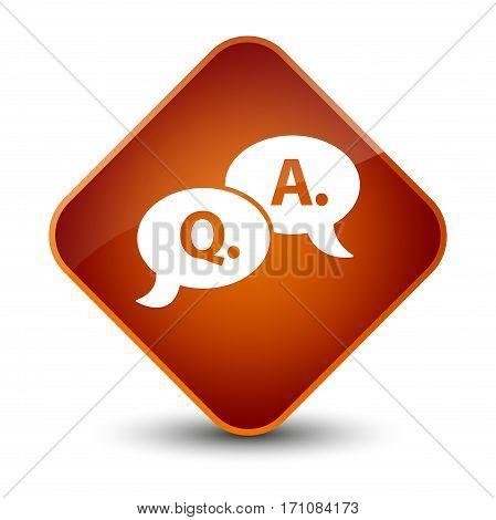 Question Answer Bubble Icon Special Brown Diamond Button